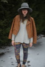 Heather-gray-gray-anthropologie-hat-camel-faux-leather-target-jacket