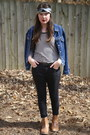 Black-skinny-urban-outfitters-jeans-blue-denim-thrifted-jacket