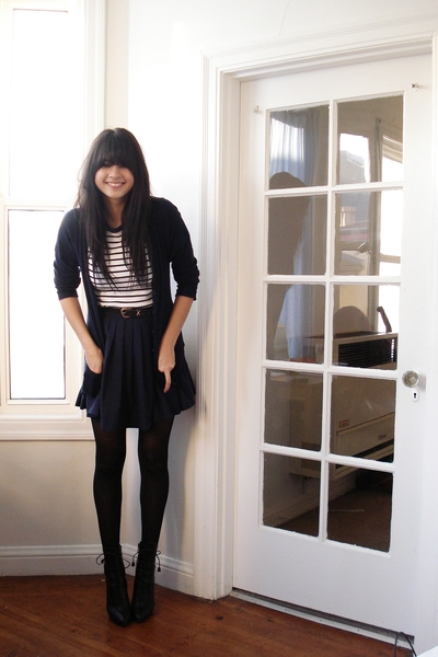 blue uniform thrifted skirt - black lace up Prada boots