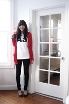 red pocket cardigan American Apparel sweater - black Chinese Laundry shoes