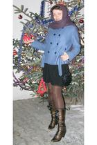 black you dress - brown papucei boots - brown susi tights - black purse - gold A