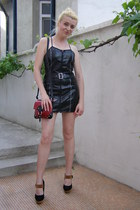 black Biker by Obsessive dress - ruby red sniny leather Prada purse