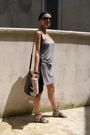 Gray-h-m-dress-green-meli-melo-paris-bracelet-silver-earrings-gray-shoes-