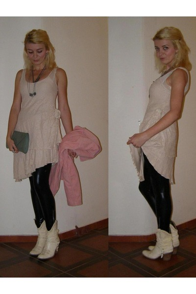 ivory boots - ivory dress - black wet look Alcott leggings - pink qstyle blazer
