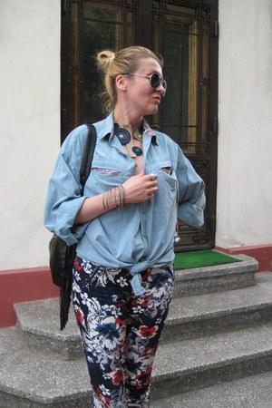 black leather Fly London boots - light blue my hubbys shirt Haupt shirt
