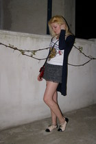 ruby red Prada purse - white Little Miss Sunshine top - navy extra me cardigan