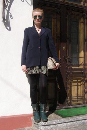 teal boots - silver dress - black wet look Alcott leggings - navy maxine blazer