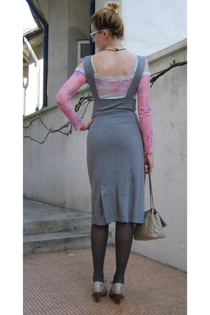 charcoal gray tights - off white Only purse - bubble gum SWest Fashion blouse