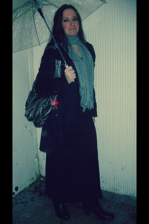 black tank maxi TooSexyStore dress - grey wool Choies scarf