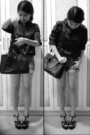 black patent Gibi heels - black leather Prada bag - navy cotton on shorts