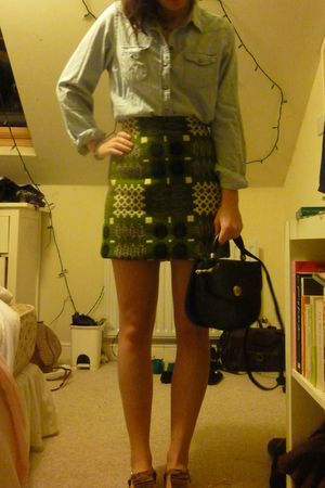 green Welsh Tweed skirt - blue Topshop shirt - brown Mia shoes - green vintage p