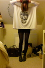 White-illustrated-people-t-shirt-blue-topshop-vest-black-h-m-tights-gray-t