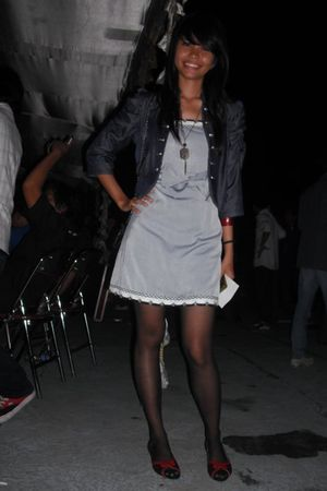 blue blazer - silver dress - red shoes - black stockings - black necklace