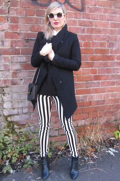 black platform H&M boots - black wool H&M coat - black stripes H&M pants