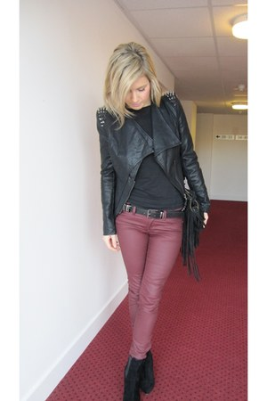 burgundy H&M pants - suede Primark shoes - fringe Zara bag