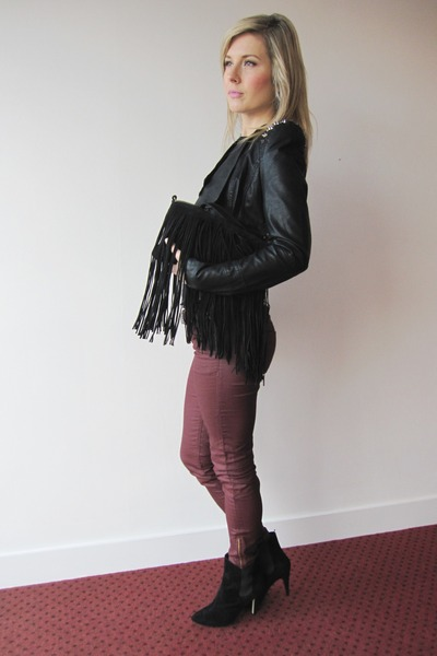 burgundy H&M pants - black Primark boots - fringe Zara bag
