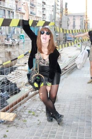 black blazer - black Dr Martens boots - black H&M skirt
