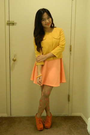 mustard Forever 21 blazer - light orange Charlotte Russe dress