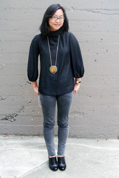 Uniqlo blouse - Cheap Monday jeans - Aldo shoes - vintage necklace