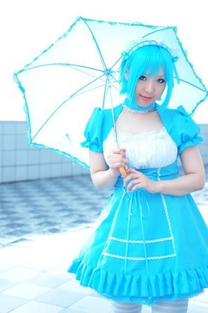 aquamarine dress with white lacing dress - light blue umbrella accessories