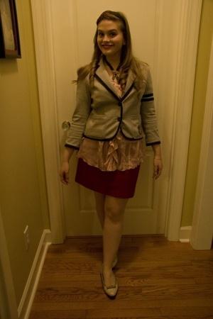 victorias secret pink blazer - forever 21 blouse - vintage skirt - ferragamo sho