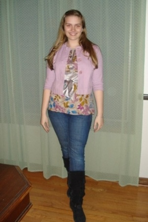 tara jarmon for target jacket - forever 21 blouse - Old Navy jeans - delias boot