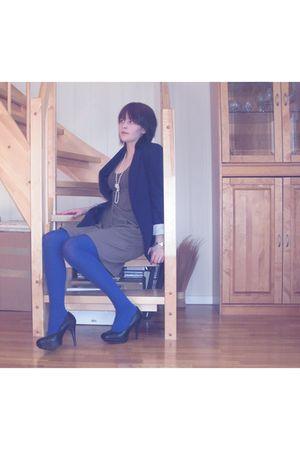 blue BikBok blazer - black bullboxer shoes - blue H&M tights - brown Only dress