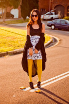 light yellow tights - black Pinet shoes - white dress - black sunglasses