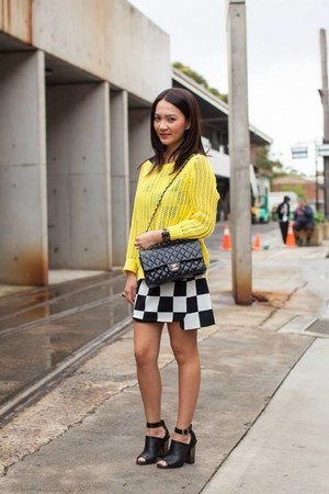 black Chanel bag - yellow asos jumper