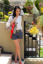 red Sportscraft scarf - silver bag - Nine West heels - white blouse - heather gr