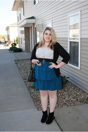 blue Mossimo for Target dress - black H&M bag - black Forever 21 boots - black F