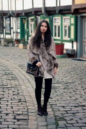 Oasis jacket - Zara boots - Etsy dress - vintage bag