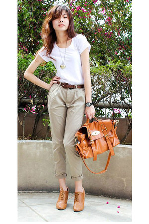 tan oxfords shoes - tan satchel bag - brown braided belt