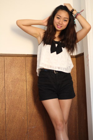 black high waisted Forever 21 shorts - white lacy Forever 21 top