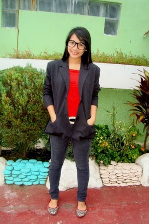 black moms blazer - ruby red calvin klein t-shirt - Tomato shoes - black random