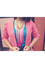 Hot-pink-mom-blazer-bubble-gum-tassel-necklace