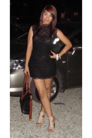 black lacey get laud dress - black leather jovanni bag - beige Primadonna heels