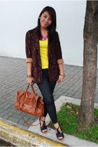 Zara blazer - jeggings leggings - satchel bag - platforms sandals