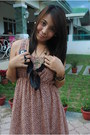 Aldo-bracelet-thrift-shop-dress-feather-necklace-black-aldo-flats