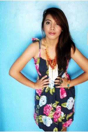 floral print dress - tassel Tweetums necklace - beaded Tweetums necklace