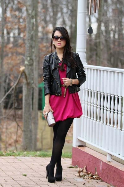 hot pink bubble hem Forever 21 dress - black faux leather Forever 21 jacket