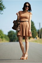 light brown areyoufashioncom dress - dark brown ebaycouk bag