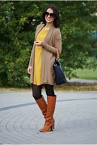 camaieu cardigan - H&M boots - new look dress
