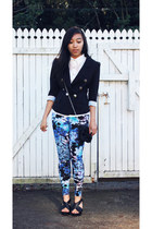 blue floral print Glassons leggings - black 3-4 sleeve chicabooti blazer