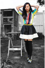 Yellow-h-m-dress-dark-gray-glassons-tights-black-glassons-skirt