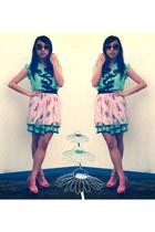 Yalda heels - Mei Mei dress - cotton on sunglasses - olive oyl print skirt