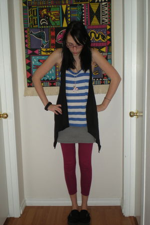 black Victorias Secret cardigan - black Blowfish shoes - red Victorias Secret le