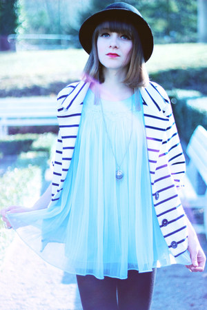light blue vintage dress - black vintage hat - navy American Apparel jacket