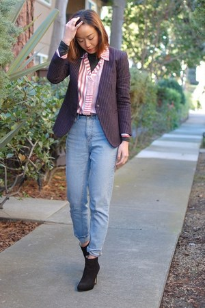 Zara boots - BDG jeans - Theory blazer - madewell top