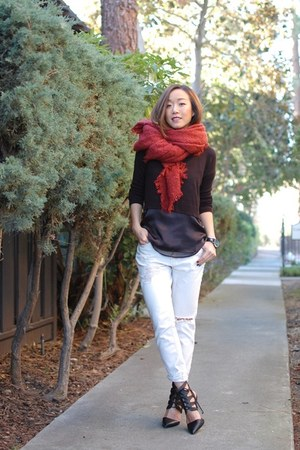Club Monaco sweater - Zara scarf - Topshop top - loeffler randall heels